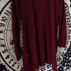 Sweaters - Burgandy knit cardigan